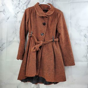 Steve Madden Pleated Button Up Pea Coat